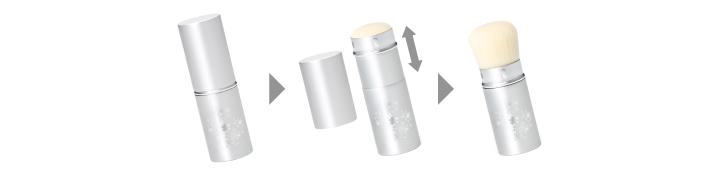 ブラシガードの位置によって、毛のコシを調整することができます。キャップをする際は、ブラシガードをスライドしてください。
